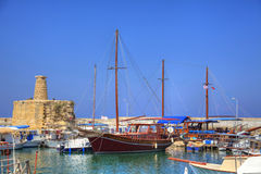 Old habour in Cyprus. Boats in an historic harbour in Kyrenia, North Cyprus Royalty Free Stock Images