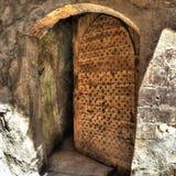 Old half-open door. Detail of old half-open door in the Coptic neighborhood at Cairo (Egypt Royalty Free Stock Image