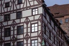 Old half timbered building facade, nuremberg germany Stock Photos