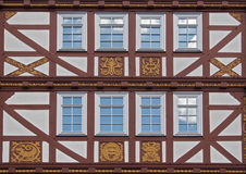 Old half timbered house facade with ornaments Stock Image