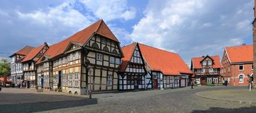 Old Half-timbered Houses at the Cathedral Square of Nienburg on the Weser, Lower Saxony, Germany. The charming little town of Nienburg south of Bremen on the royalty free stock photos