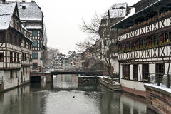 Old half-timbered houses in winter Royalty Free Stock Images
