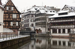 Old half-timbered houses in winter Royalty Free Stock Photography