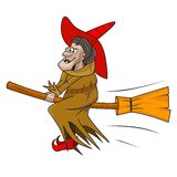 Old halloween witch. Illustration of cartoon witch flying on her broomstick Stock Images