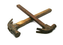 Old hammer isolated in white Royalty Free Stock Photos