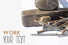 Old hammer, nails and pliers Royalty Free Stock Photos