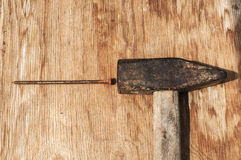 Old hammer and rusty nails Royalty Free Stock Photo