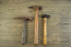 Old Hammers on Aged Wood Stock Image