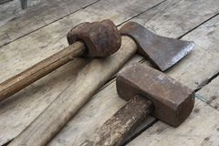 Old hammers and ax stock photography