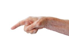 Old hand. On a white background Stock Image