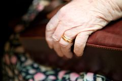 Old Hand. A detail of an old womans hand on her purse Royalty Free Stock Photos