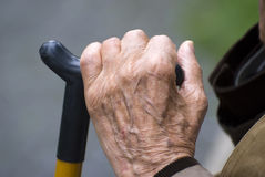 Old hand. Man resting with walking stick Royalty Free Stock Images
