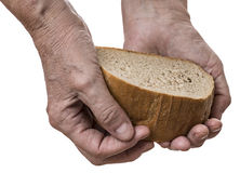 Old hand with bread Royalty Free Stock Image