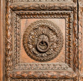 Old Hand Carved Door Panel Stock Images