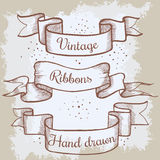 Old hand drawn banner to scrapbook or design in vector.Collection of vintage ribbons and place for text. Sketch decorative element Stock Photography