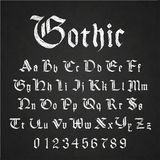 Old hand drawn gothic letters drawing with white chalk on black chalkboard. Set of old hand drawn gothic letters drawing with white chalk on black chalkboard royalty free illustration