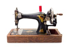 Old hand driven sewing machine. Ready for use royalty free stock image