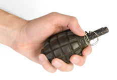 Old hand grenade. In a man's hand Stock Photo