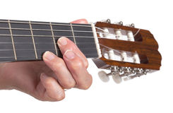 Old hand and guitar isolated Stock Photo