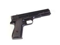 Old hand gun. On a plain white background Stock Photos