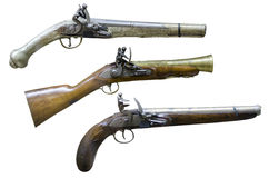 Old hand guns. Firestone pistols from the XVIIIth century at display at the Romanian National Military Museum Stock Images