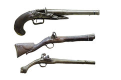 Old hand guns. Firestone pistols from the XVIIIth century at display at the Romanian National Military Museum Stock Photography
