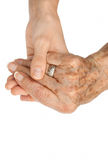 Old hand holding young hand Royalty Free Stock Image