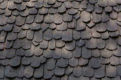 Old hand made roof made from black wood, wooden roof.cedar roof Royalty Free Stock Photo