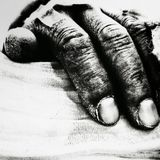Old hand. Old man hand on white background Royalty Free Stock Photo