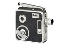 Old hand movie camera. Isolated on white stock photos