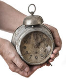 Old hand and old clock Royalty Free Stock Photo