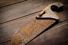 Old hand Saw stock images