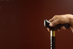 Old hand and a stick. Old hand holding a walking stick Royalty Free Stock Images