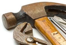Old Hand Tools. Close-up of old hand tools with hammer, channel lock and screwdrivers Royalty Free Stock Image