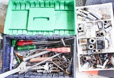 Old  hand tools in car mechanic box top view. Close up Old  hand tools in car mechanic box top view royalty free stock photos