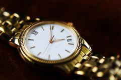 Old hand watch for man vintage style close up Royalty Free Stock Photos