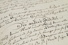 Old hand writing Royalty Free Stock Photo