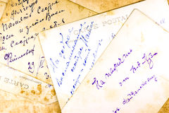 Old hand written postcards Stock Image