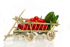 Old handcart full of fruits and vegetables Royalty Free Stock Photo
