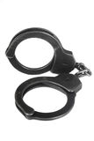 Old handcuff. Black handcuff on white background royalty free stock images