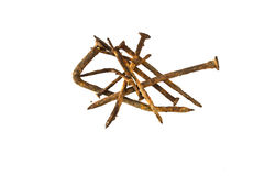 Old handforged rusty nails Stock Photo
