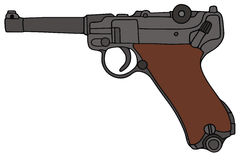Old handgun. Hand drawing of a classic german handgun Royalty Free Stock Images