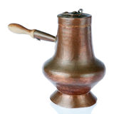 Old handmade copper kettle. Old handmade copper kettle, on a white background Stock Image