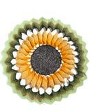 Old handmade crochet doily on white background royalty free stock image
