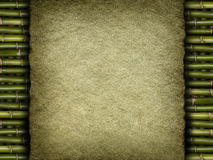 Old handmade paper sheet on bamboo Stock Photography