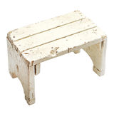 Old handmade stool on white background Stock Photos