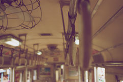 Old handrails inside train vintage style Royalty Free Stock Images