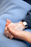Old Hands. An old handing holding a young hand. Shallow depth of field with focus on the hands stock photo