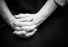 Old Hands. The hands of an elderly woman with arthritis Royalty Free Stock Photos