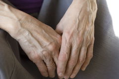 Old hands. Women's hand royalty free stock photo